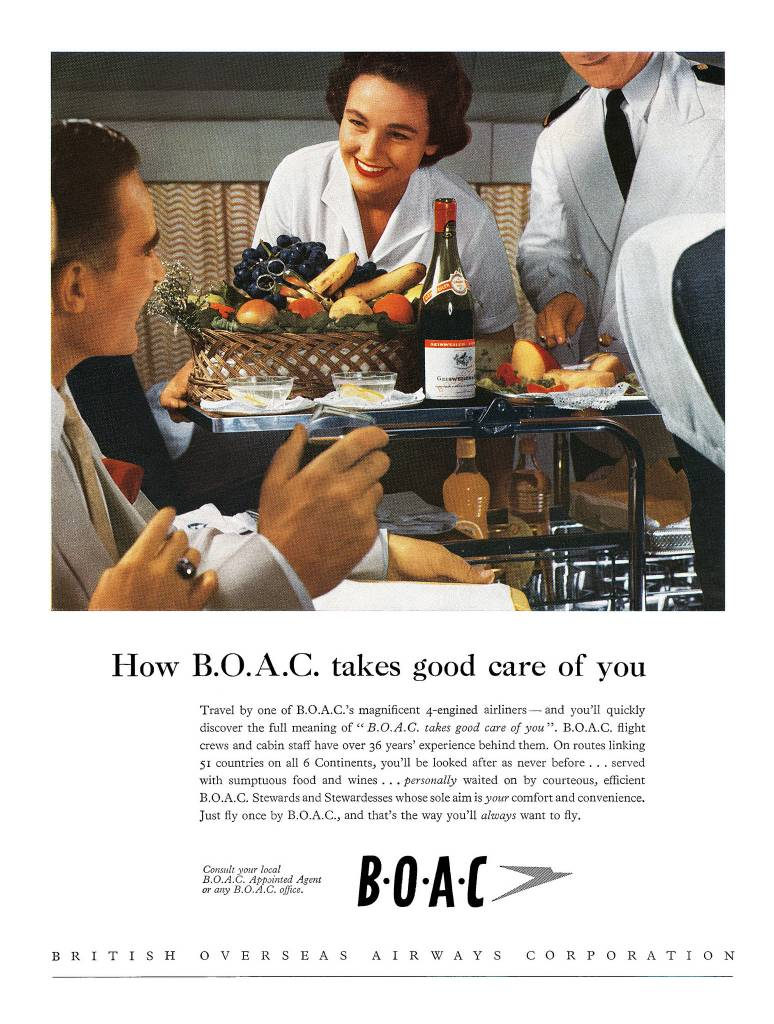 1956-how BOAC-take cares of you vintage ad-stewardess thechicflaneuse