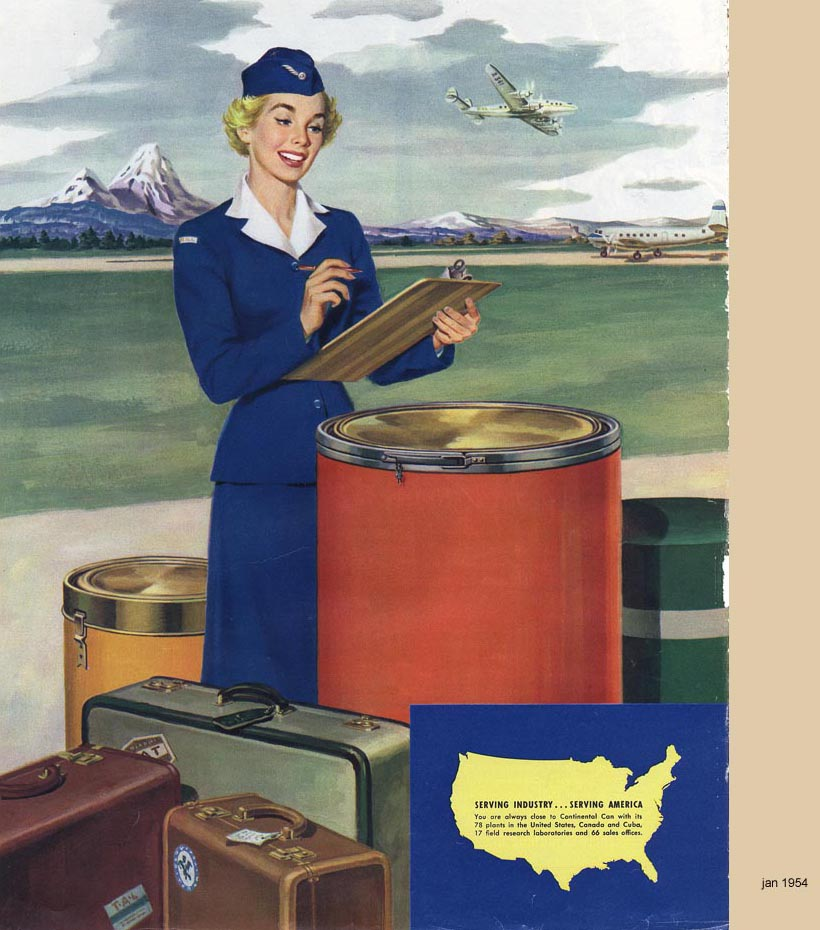 Continental-Can-Serving-America-January-1954- vintage stewardess ad thechicflaneuse