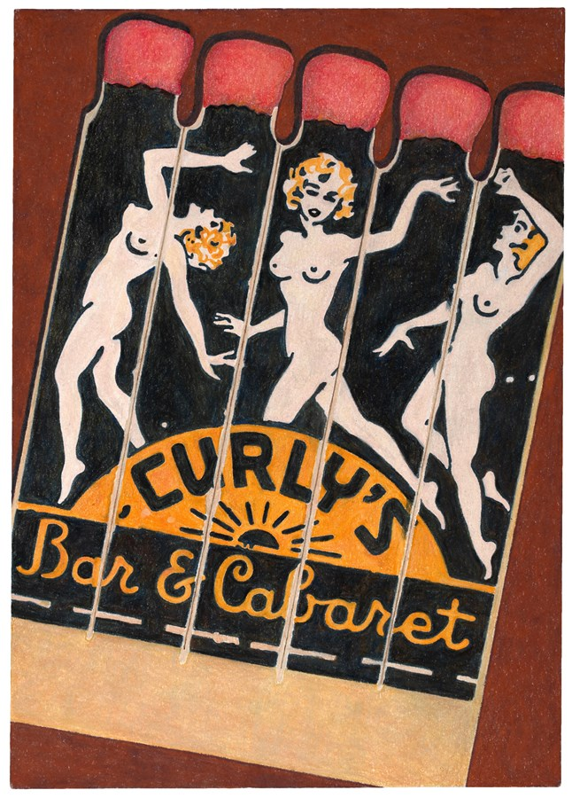 Curly's Bar & Cabaret Matchbooks, 2016© Aaron Kasmin, Courtesy of Sims Reed Gallery