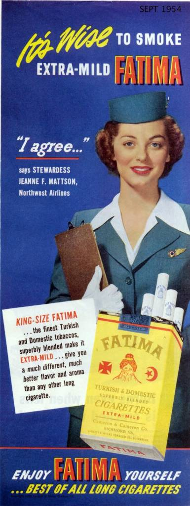 Its-wise-to-smoke-extra-mild-FATIMA-September-1954-stewardess vintage ad-thechicflaneuse