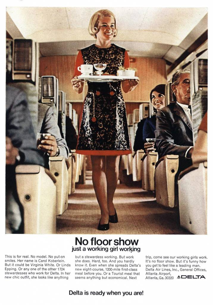 Just-a-working-girl-working.-1969-ad-for-Delta-Airlines-stewardess vintage ad - thechicflaneuse