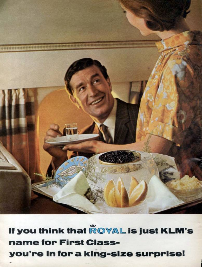 KLM-airline-youre-in-for-a-king-size-surprise-January-1967-stewardess vintage ad - the chicflaneuse