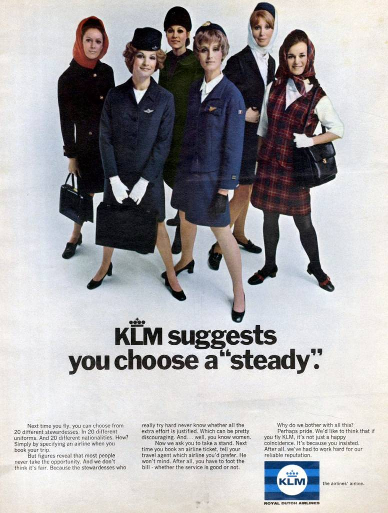 KLM-suggests-you-choose-a-steady-August-1969-stewardess vintage ad-thechicflaneuse