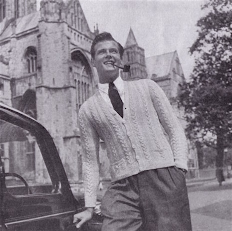 Roger Moore as knitwear model in the 50s - the chicflaneuse