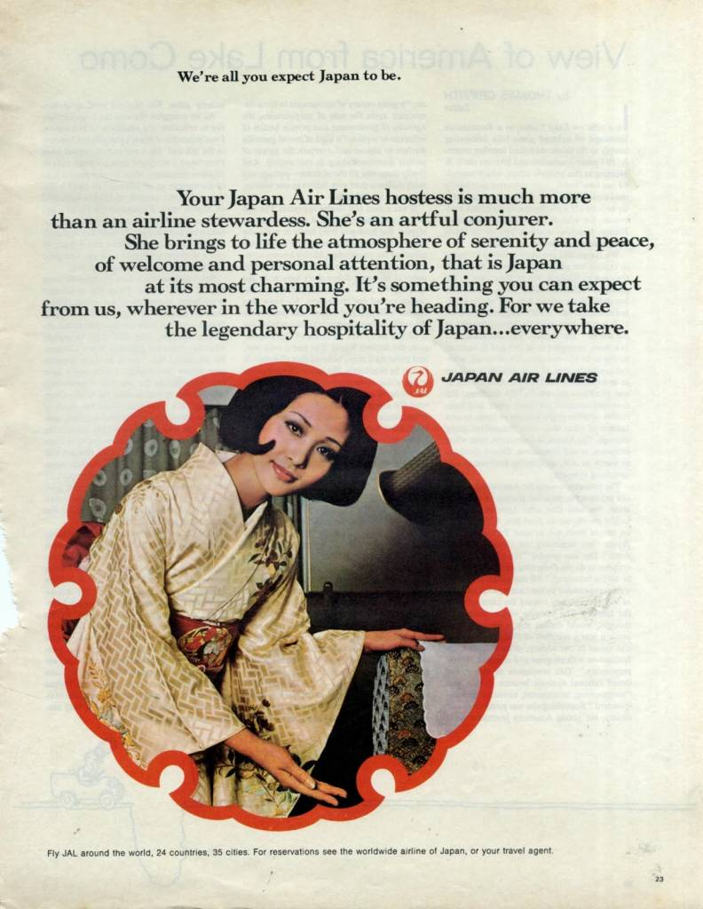 Shes-an-artful-conjuror-Japan-Air-Lines-1970-vintage ad stewardess-thechicflaneuse