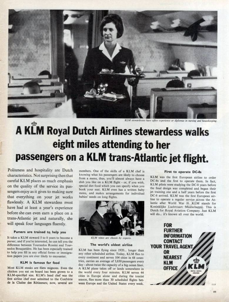 This-KLM-Stewardess-walks-8-miles-June-1963-vintage ad-thechicflaneuse