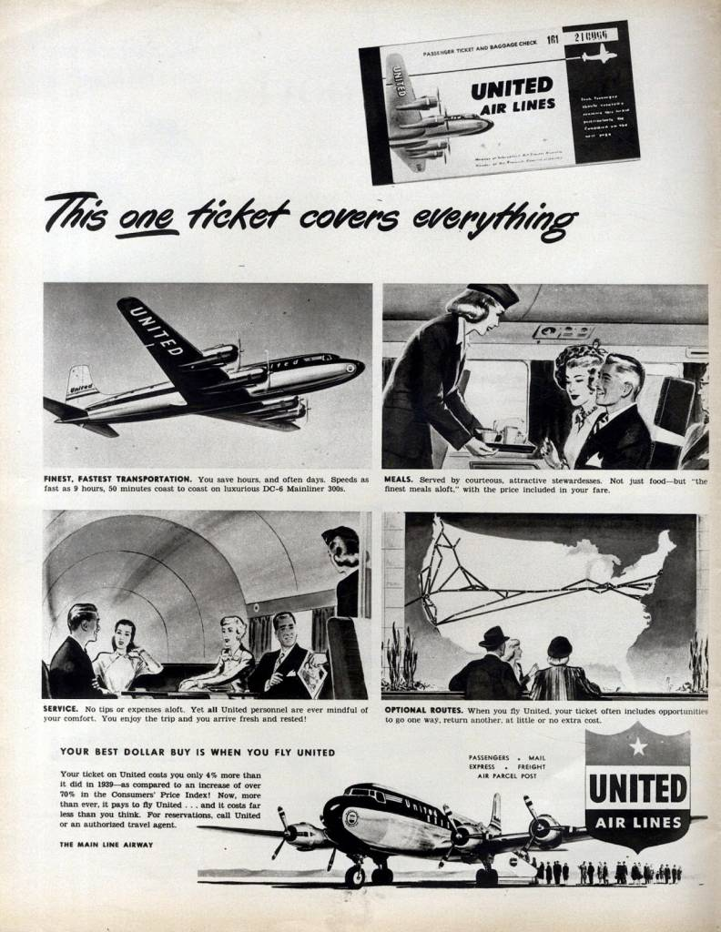 This-One-Ticket-covers-Everything-United-Airlines-April-1949-vintage ad-thechicflaneuse
