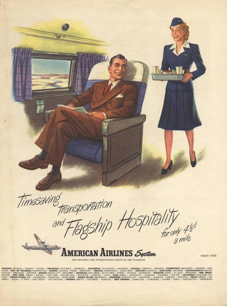 Timesaving-Transportation-and-Flagship-Hospitality-American-Airlines-March-1945-vintage ad-thechicflaneuse