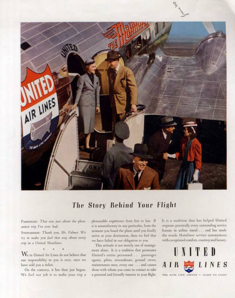 United-Airlines-vintage ad-stewardess thechicflaneuse