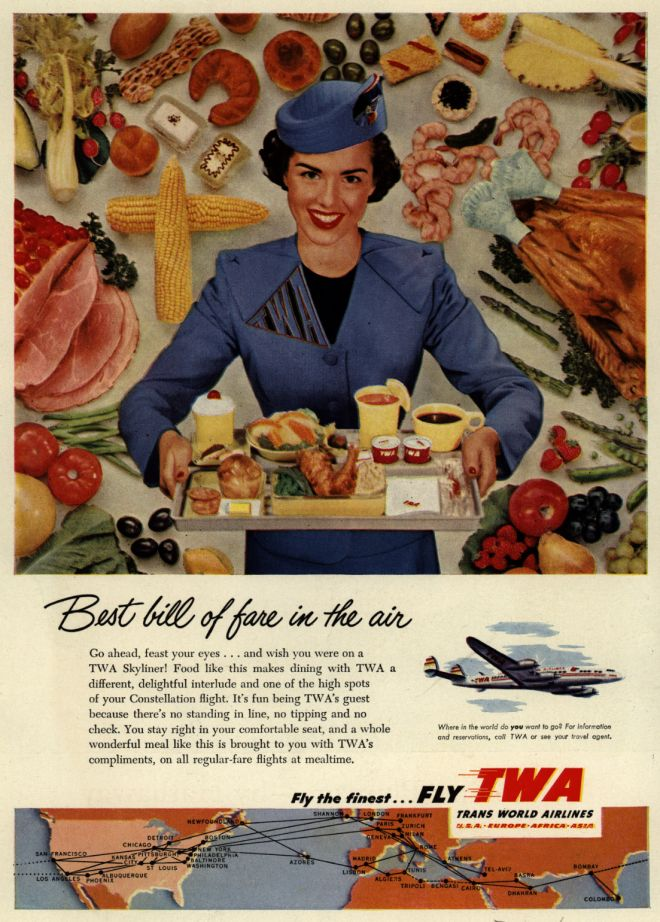 best bill of fare twa vintage ad stewardess-thechicflaneuse.com