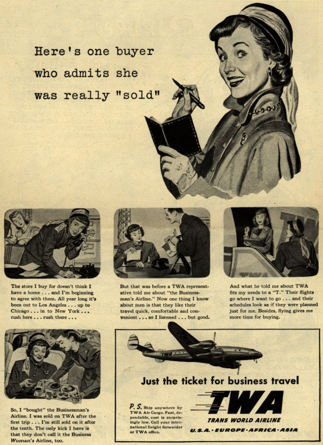 business travel twa vintage ad stewardess-thechicflaneuse