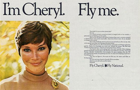 fly me cheryl vintage ad stewardess-thechicflaneuse