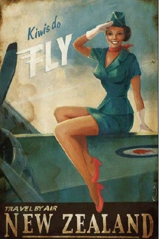 fly new zealand vintage ad stewardess-thechicflaneuse