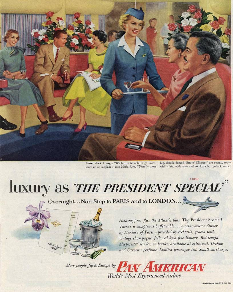 luxury-in-the-President-Special-Pan-American-Airlines-1949-stewardess-thechicflaneuse