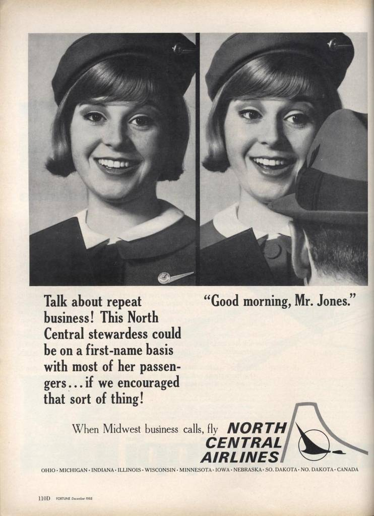 on-first-name-terms-with-her-customers-North-Central-Airplines-December-1964-stewardess-thechicflaneuse