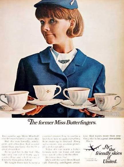 the freindly sky of united vintage ad stewardess thechicflaneuse