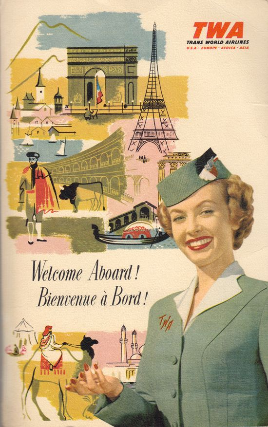 twa welcome on board stewardess vintage ad thechicflaneuse