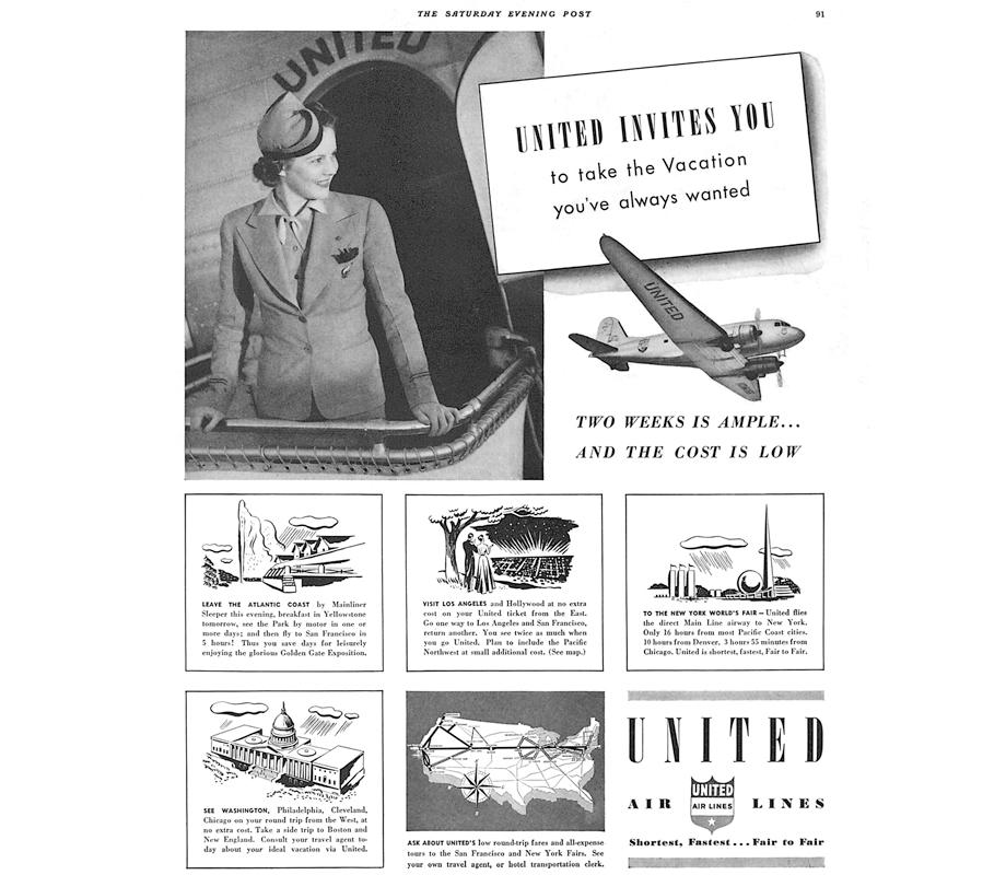 united airlines 1939 vintage ad the chicflaneuse