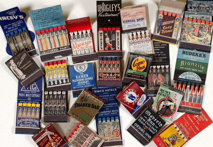 Selection of vintage matchbooks from Aaron Kasmin private collection