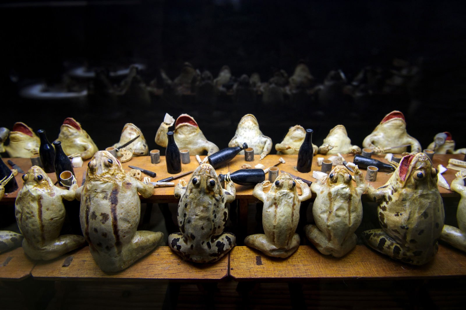 Frogs-attending-a-banquet-at-the-Frog-Museum-in-Estavayer-le-Lac-western-Switzerland-FABRICE-COFFRINI-AFP-Getty-Images-thechicflaneuse