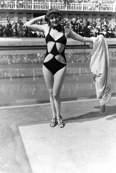 PARIS, FRANCE - JUNE 23: Woman wearing funny swimming suit at the Aquatic gala at Molitor swimming pool, on June 23, 1931 in Paris, France. (Photo by Gamma-Keystone via Getty Images)