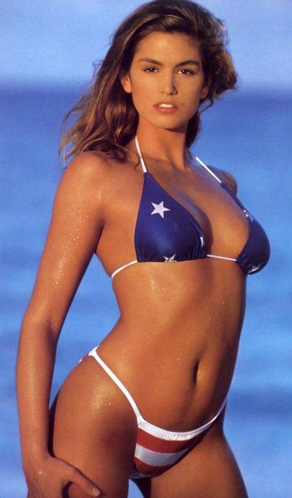 Top Model Cindy Crawfors wearing stars and stripes bikini