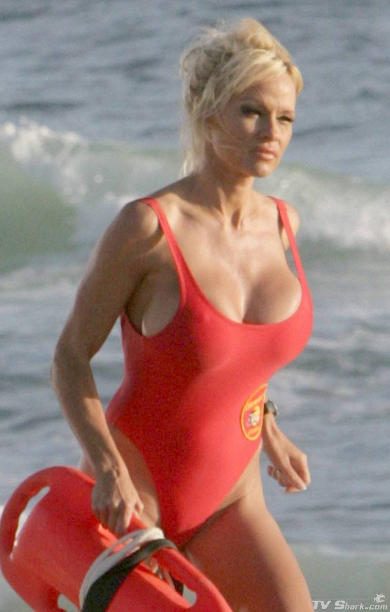 Pamela Anderson and her famous red swinsuit in Baywatch tv serie