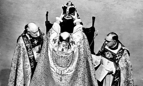 The Archbishop of Canterbury crowns the Queen on 2 June 1953.