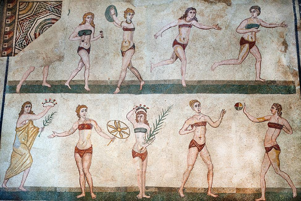 bikini girls in the mosaics of roman Villa Del Casale in Piazza Armerina in Sicily - thechicflaneuse