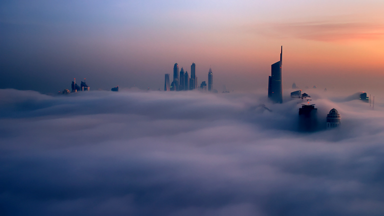 Awaken - Fog filmed in Dubai from a helicopter.