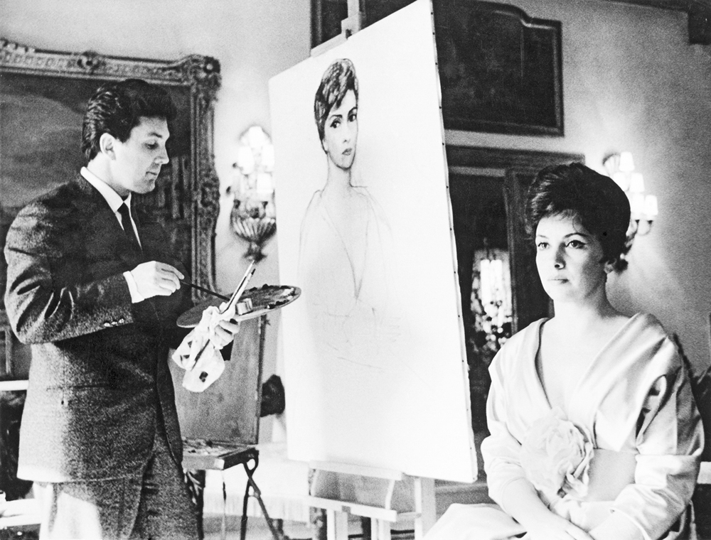 Russian artist Ilya Glazunov Is Painting of the Portrait of Gina Lollobrigida. Rome 1963