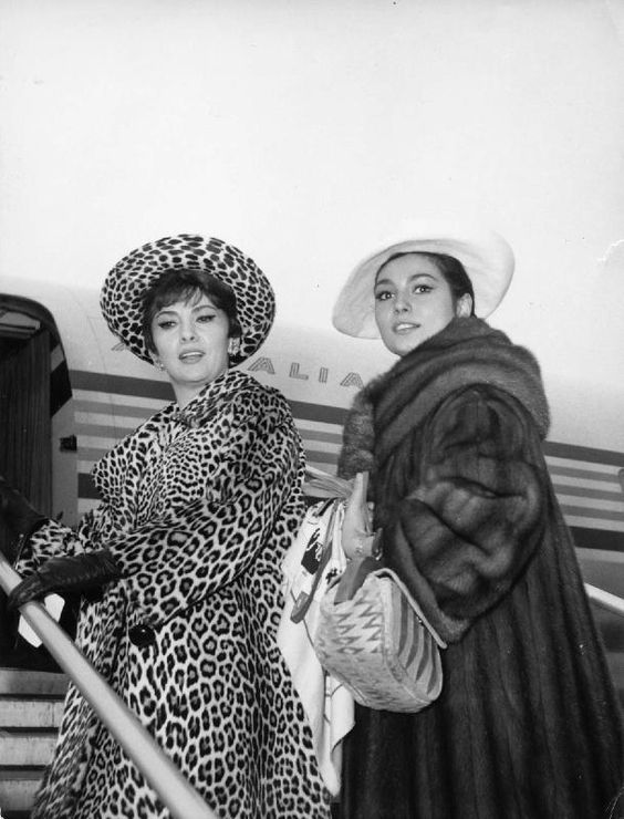 gina lollobrigida and rosanna schiaffino flying alitalia