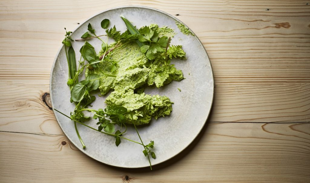 green butter with yarrow