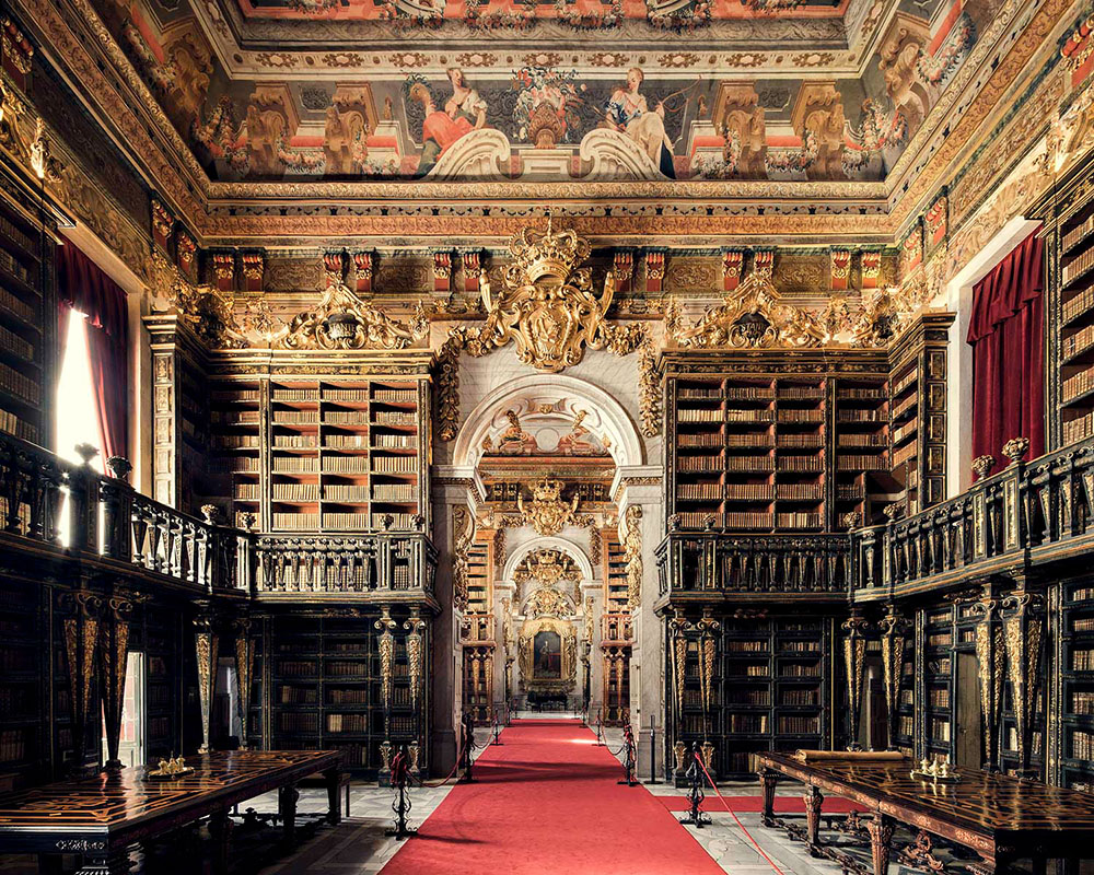 Joanina Library at University of Coimbra, built in XVIII century.